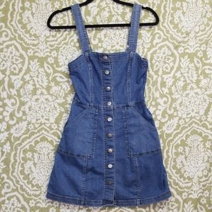 H&M Divided Sz 2 Jean Overall Dress Button Down